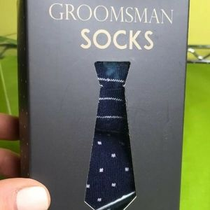 2 Pair New in Box Navy & Pink Groomsman Socks NWT